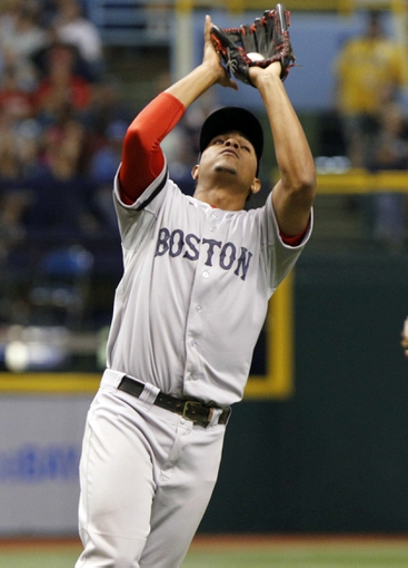 Sep 12, 2013; St. Petersburg, FL, USA; Boston Red Sox shortstop Xander Bogaerts (72) catches a fly ball during the fifth inning against the Tampa Bay Rays at Tropicana Field. Mandatory Credit: Kim Klement-USA TODAY Sports