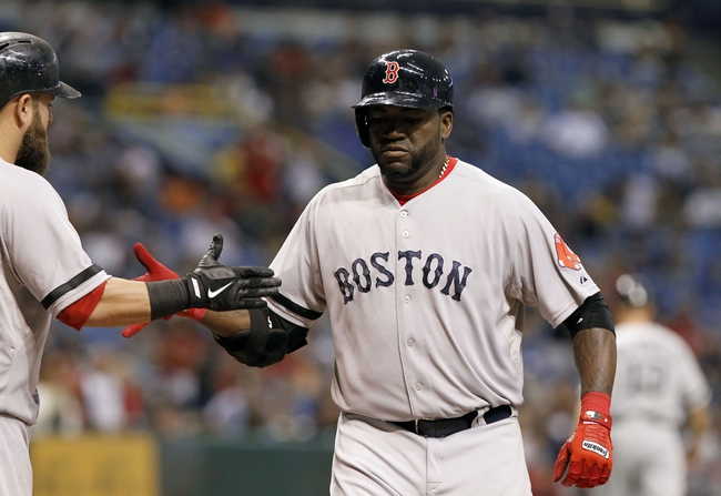 Sep 12, 2013; St. Petersburg, FL, USA; Boston Red Sox designated hitter David Ortiz (34) is congratulated by first baseman Mike Napoli (12) after he hit a solo home run during the sixth inning against the Tampa Bay Rays at Tropicana Field. Mandatory Credit: Kim Klement-USA TODAY Sports