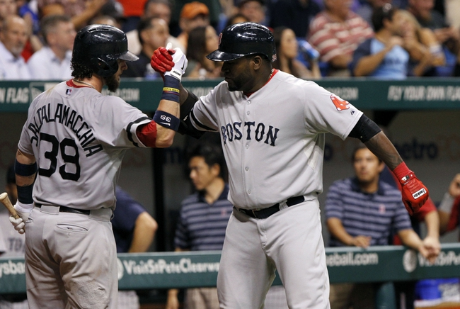 Sep 12, 2013; St. Petersburg, FL, USA; Boston Red Sox designated hitter David Ortiz (34) is congratulated by catcher Jarrod Saltalamacchia (39) after he hit a solo home run during the sixth inning against the Tampa Bay Rays at Tropicana Field. Mandatory Credit: Kim Klement-USA TODAY Sports