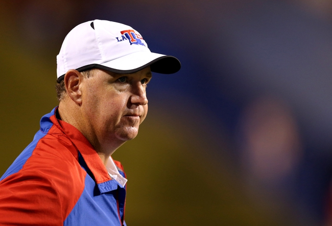 Sep 12, 2013; Ruston, LA, USA; Louisiana Tech Bulldogs head coach Skip Holtz watches the last seconds of their game against the Tulane Green Wave in the fourth quarter at Joe Aillet Stadium. Tulane won, 24-15. Mandatory Credit: Chuck Cook-USA TODAY Sports