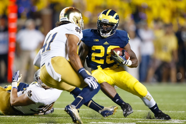 Sep 7, 2013; Ann Arbor, MI, USA; Michigan Wolverines running back Fitzgerald Toussaint (28) runs the ball against the Notre Dame Fighting Irish at Michigan Stadium. Mandatory Credit: Rick Osentoski-USA TODAY Sports