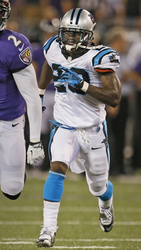 Aug 22, 2013; Baltimore, MD, USA; Carolina Panthers cornerback D.J. Moore (20) at M&T Bank Stadium. Mandatory Credit: Mitch Stringer-USA TODAY Sports