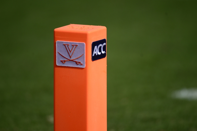 Sep 7, 2013; Charlottesville, VA, USA; A marker on the field at Scott Stadium. Mandatory Credit: Bob Donnan-USA TODAY Sports