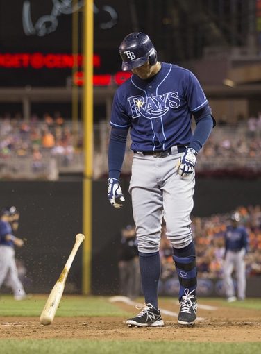 Sep 13, 2013; Minneapolis, MN, USA; Tampa Bay Rays third baseman Evan Longoria (3) reacts after striking out in the fifth inning against the Minnesota Twins at Target Field. Mandatory Credit: Jesse Johnson-USA TODAY Sports