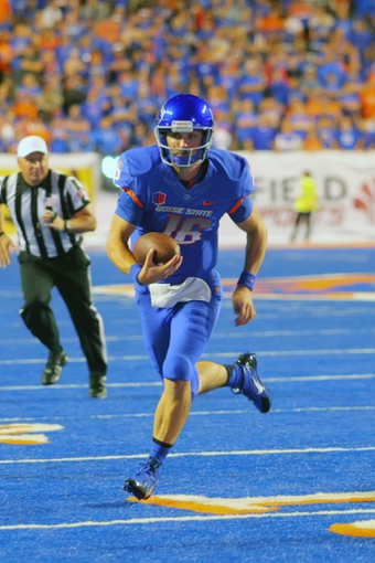 Sep 13, 2013; Boise, ID, USA; Boise State Broncos quarterback Joe Southwick (16) runs to the one yard line during the second half against the Air Force Falcons at Bronco Stadium. Boise State defeated the Air Force 42-20. Mandatory Credit: Brian Losness-USA TODAY Sports