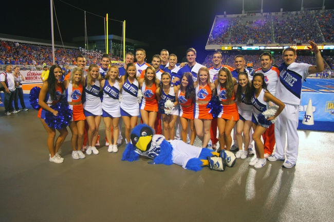 Sep 13, 2013; Boise, ID, USA; Boise State Broncos and Air Force Falcons cheer squads pose for a photo during the second half at Bronco Stadium. Boise State defeated the Air Force 42-20. Mandatory Credit: Brian Losness-USA TODAY Sports