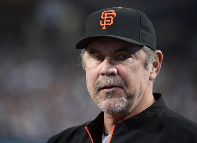 Sep 13, 2013; Los Angeles, CA, USA; San Francisco Giants manager Bruce Bochy during the game against the Los Angeles Dodgers at Dodger Stadium. The Giants defeated the Dodgers 4-2. Mandatory Credit: Kirby Lee-USA TODAY Sports