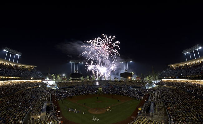 Sep 13, 2013; Los Angeles, CA, USA; General view of fireworks after the game between the Los Angeles Dodgers and the San Francisco Giants at Dodger Stadium. Mandatory Credit: Kirby Lee-USA TODAY Sports