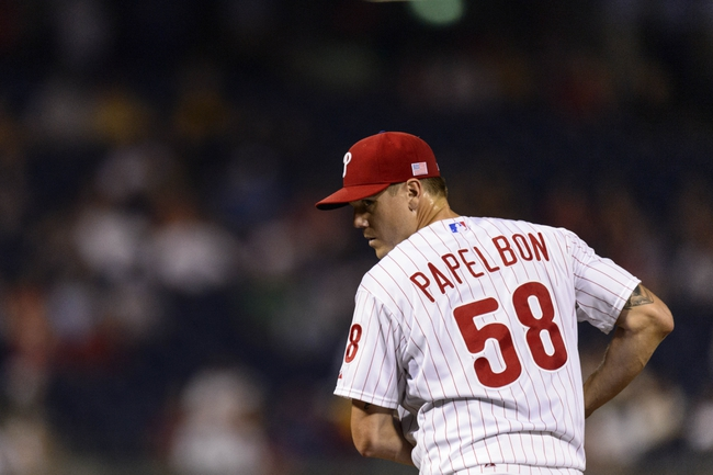 Sep 11, 2013; Philadelphia, PA, USA; Philadelphia Phillies pitcher Jonathan Papelbon (58) during the ninth inning against the San Diego Padres at Citizens Bank Park. The Phillies defeated the Padres 4-2. Mandatory Credit: Howard Smith-USA TODAY Sports