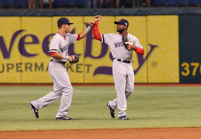 Sep 11, 2013; St. Petersburg, FL, USA; Boston Red Sox left fielder Quintin Berry (50) and left fielder Jackie Bradley Jr. (25) high five after they beat the Tampa Bay Rays at Tropicana Field. Boston Red Sox defeated the Tampa Bay Rays 7-3. Mandatory Credit: Kim Klement-USA TODAY Sports