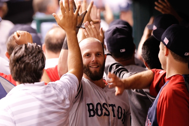 Sep 11, 2013; St. Petersburg, FL, USA; Boston Red Sox second baseman Dustin Pedroia (15) high fives in the dugout against the Tampa Bay Rays at Tropicana Field. Boston Red Sox defeated the Tampa Bay Rays 7-3. Mandatory Credit: Kim Klement-USA TODAY Sports