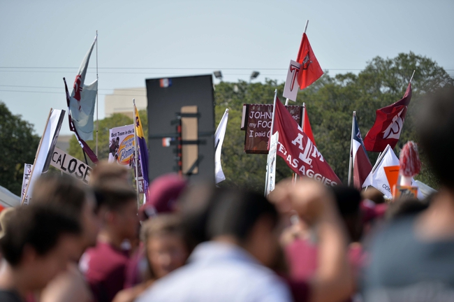 Sep 14, 2013; College Station, TX, USA; Fans cheer at ESPN Gameday before the game between the Texas A&M Aggies and the Alabama Crimson Tide at Kyle Field. Mandatory Credit: Thomas Campbell-USA TODAY Sports