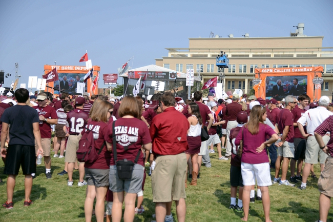 Sep 14, 2013; College Station, TX, USA; Fans watch ESPN Gameday before the game between the Texas A&M Aggies and the Alabama Crimson Tide at Kyle Field. Mandatory Credit: Thomas Campbell-USA TODAY Sports