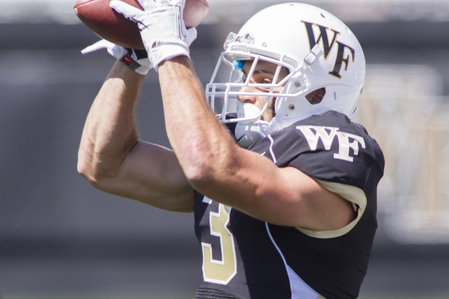 Sep 14, 2013; Winston-Salem, NC, USA; Wake Forest Demon Deacons wide receiver Michael Campanaro (3) catches a pass against the Louisiana Monroe Warhawks during the first quarter at BB&T Field. Mandatory Credit: Jeremy Brevard-USA TODAY Sports