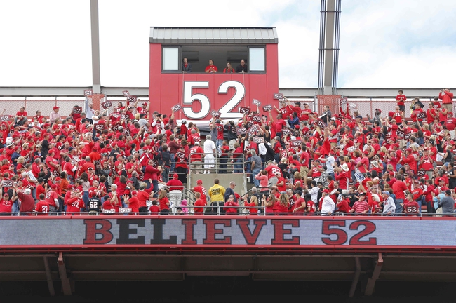 Sep 14, 2013; Piscataway, NJ, USA;  The number 52 is displayed to honor Rutgers Scarlet Knights former player Eric LeGrand during halftime of a game against the Eastern Michigan Eagles at High Points Solutions Stadium. Mandatory Credit: Jim O'Connor-USA TODAY Sports