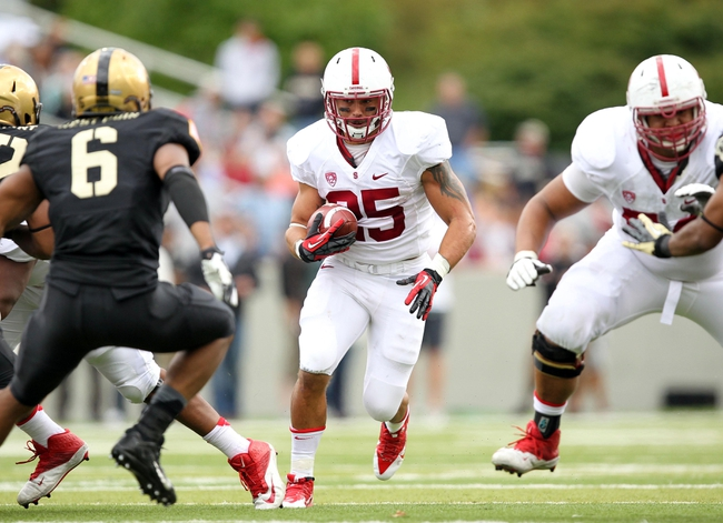 Sep 14, 2013; West Point, NY, USA; Stanford Cardinal running back Tyler Gaffney (25) runs the ball during the second half against the Army Black Knights at Michie Stadium. Mandatory Credit: Danny Wild-USA TODAY Sports