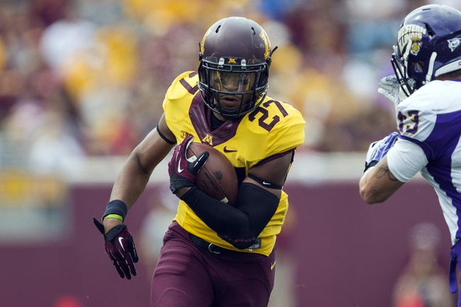 Sep 14, 2013; Minneapolis, MN, USA; Minnesota Golden Gophers running back David Cobb (27) runs with the ball in the fourth quarter against the Western Illinois Leathernecks at TCF Bank Stadium. The Gophers won 29-12. Mandatory Credit: Jesse Johnson-USA TODAY Sports