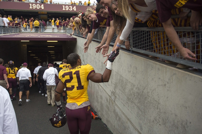 Sep 14, 2013; Minneapolis, MN, USA; Minnesota Golden Gophers defensive back Brock Vereen (21) celebrates with fans after beating the Western Illinois Leathernecks at TCF Bank Stadium. The Gophers won 29-12. Mandatory Credit: Jesse Johnson-USA TODAY Sports