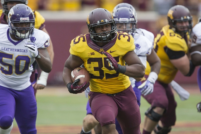 Sep 14, 2013; Minneapolis, MN, USA; Minnesota Golden Gophers running back Rodrick Williams Jr. (35) runs with the ball in the fourth quarter against the Western Illinois Leathernecks at TCF Bank Stadium. The Gophers won 29-12. Mandatory Credit: Jesse Johnson-USA TODAY Sports