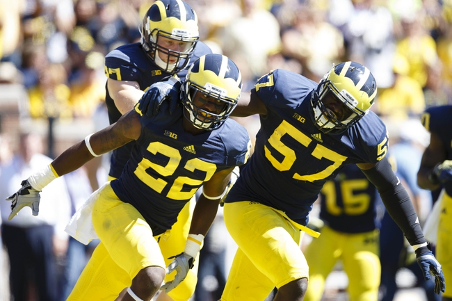 Sep 14, 2013; Ann Arbor, MI, USA; Michigan Wolverines safety Jarrod Wilson (22) receives congratulations from defensive end Frank Clark (57) after making an interception in the end zone to stop the Akron Zips from scoring in the second half at Michigan Stadium. Mandatory Credit: Rick Osentoski-USA TODAY Sports
