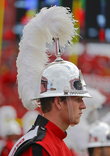 Sep 14, 2013; Piscataway, NJ, USA;  Rutgers Scarlet Knights band member during the first half of game against the Eastern Michigan Eagles at High Points Solutions Stadium. Mandatory Credit: Jim O'Connor-USA TODAY Sports