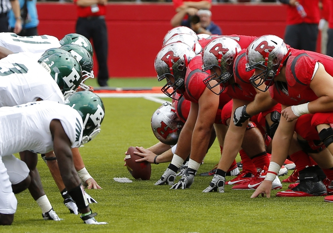 Sep 14, 2013; Piscataway, NJ, USA;  Eastern Michigan Eagles and Rutgers Scarlet Knights during the first half at High Points Solutions Stadium. Mandatory Credit: Jim O'Connor-USA TODAY Sports