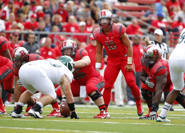 Sep 14, 2013; Piscataway, NJ, USA;  Rutgers Scarlet Knights quarterback Gary Nova (10) during the first half against the Eastern Michigan Eagles at High Points Solutions Stadium. Mandatory Credit: Jim O'Connor-USA TODAY Sports