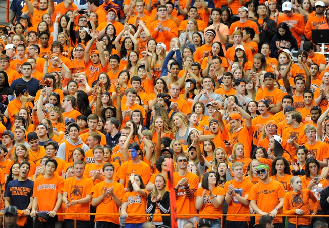 Sep 14, 2013; Syracuse, NY, USA; Syracuse Orange fans cheer during the second quarter against the Wagner Seahawks at the Carrier Dome.  Mandatory Credit: Rich Barnes-USA TODAY Sports