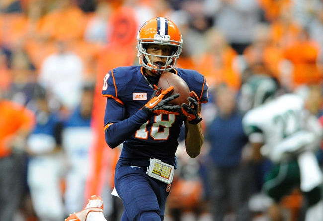 Sep 14, 2013; Syracuse, NY, USA; Syracuse Orange wide receiver Christopher Clark (18) makes a catch during the second quarter against the Wagner Seahawks at the Carrier Dome.  Mandatory Credit: Rich Barnes-USA TODAY Sports