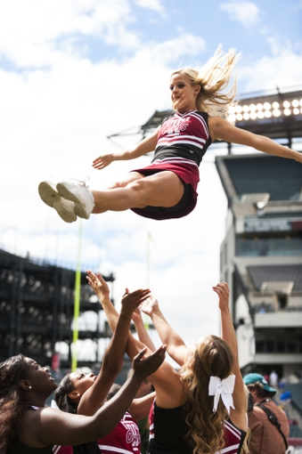 Sep 14, 2013; Philadelphia, PA, USA; Temple Owls cheerleaders perform prior to playing the Fordham Rams at Lincoln Financial Field. Fordham defeated Temple 30-29. Mandatory Credit: Howard Smith-USA TODAY Sports