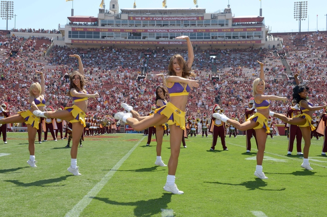 Sep 14, 2013; Los Angeles, CA, USA; Los Angeles Laker girls cheerleaders perform during the NCAA football game between the Boston College Eagles and the Southern California Trojans at Los Angeles Memorial Coliseum.  Mandatory Credit: Kirby Lee-USA TODAY Sports