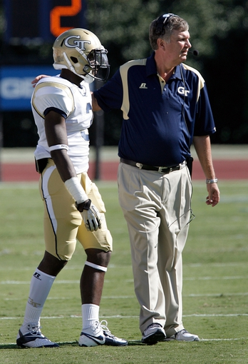 Sep 14, 2013; Durham, NC, USA; Georgia Tech Yellow Jackets head coach Paul Johnson sends a play in with running back Dennis Andrews (3) in their game against the Duke Blue Devils at Wallace Wade Stadium. Mandatory Credit: Mark Dolejs-USA TODAY Sports