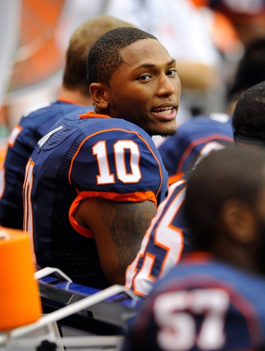 Sep 14, 2013; Syracuse, NY, USA; Syracuse Orange quarterback Terrel Hunt (10) looks on from the bench during the third quarter against the Wagner Seahawks at the Carrier Dome.  Syracuse defeated Wagner 54-0.  Mandatory Credit: Rich Barnes-USA TODAY Sports