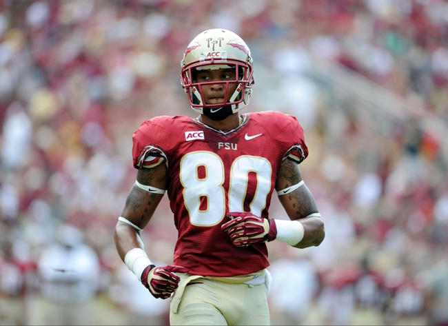 Sep 14, 2013; Tallahassee, FL, USA; Florida State Seminoles wide receiver Rashad Greene (80) during the first half of the game against the Nevada Wolf Pack at Doak Campbell Stadium. Mandatory Credit: Melina Vastola-USA TODAY Sports