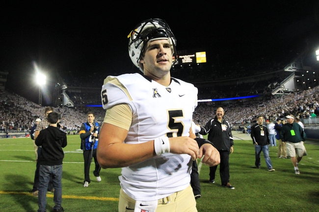 Sep 14, 2013; University Park, PA, USA; Central Florida Knights quarterback Blake Bortles (5) walks off the field following the completion of the game against the Penn State Nittany Lions at Beaver Stadium. Central Florida defeated Penn State 34-31. Mandatory Credit: Matthew O'Haren-USA TODAY Sports