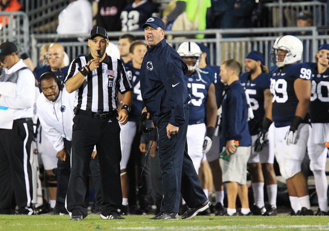 Sep 14, 2013; University Park, PA, USA; Penn State Nittany Lions head coach Bill O'Brien reacts from the sideline during the fourth quarter against the Central Florida Knights at Beaver Stadium. Central Florida defeated Penn State 34-31. Mandatory Credit: Matthew O'Haren-USA TODAY Sports
