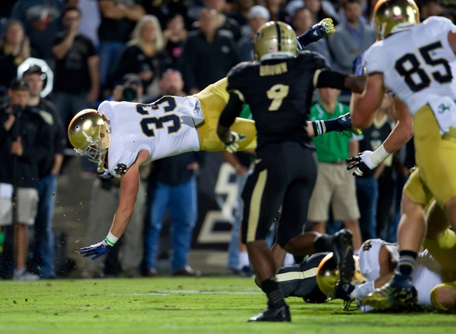 Sep 14, 2013; West Lafayette, IN, USA; Notre Dame Fighting Irish running back Cam McDaniel (33) is tripped up by Purdue Boilermakers safety Taylor Richards (4) in the second quarter at Ross-Ade Stadium. Mandatory Credit: Matt Cashore-USA TODAY Sports