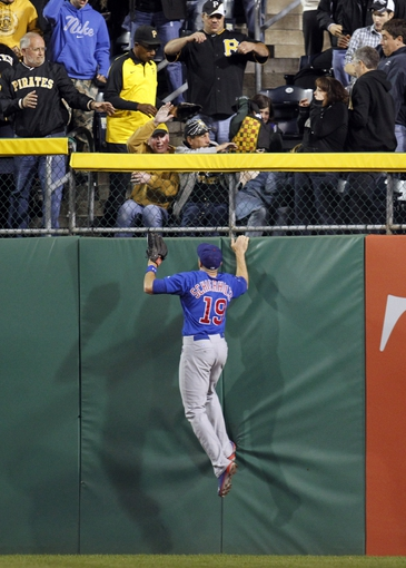 Sep 14, 2013; Pittsburgh, PA, USA; Chicago Cubs right fielder Nate Schierholtz (19) watches as a solo home run by Pittsburgh Pirates right fielder Marlon Byrd (not pictured) clears the wall during the seventh inning at PNC Park. The Pittsburgh Pirates won 2-1. Mandatory Credit: Charles LeClaire-USA TODAY Sports
