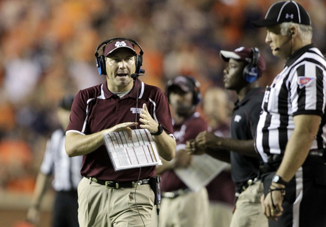 Sep 14, 2013; Auburn, AL, USA; Mississippi State Bulldogs head coach Dan Mullen calls a timeout during the second half against the Auburn Tigers at Jordan Hare Stadium.  The Tigers beat the Bulldogs 24-20.  Mandatory Credit: John Reed-USA TODAY Sports