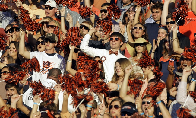 Sep 14, 2013; Auburn, AL, USA; Auburn Tigers fans cheer early in the first half against the Mississippi State Bulldogs at Jordan Hare Stadium.  The Tigers beat the Bulldogs 24-20.  Mandatory Credit: John Reed-USA TODAY Sports