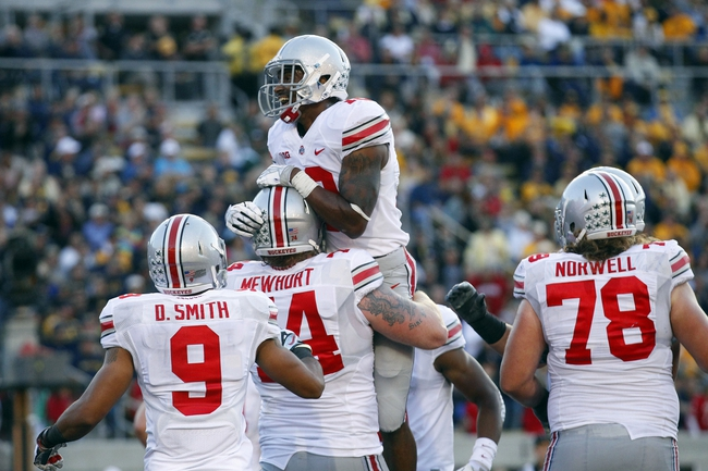 Sep 14, 2013; Berkeley, CA, USA; Ohio State Buckeyes wide receiver Corey Brown (10) reacts after catching a touchdown pass against the California Golden Bears in the third quarter at Memorial Stadium. The Buckeyes defeated the Golden Bears 52-34. Mandatory Credit: Cary Edmondson-USA TODAY Sports