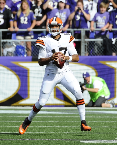 Sep 15, 2013; Baltimore, MD, USA; Cleveland Browns quarterback Jason Campbell (17) looks to pass against the Baltimore Ravens during the second half at M&T Bank Stadium. The Ravens won 14 - 6. Mandatory Credit: Brad Mills-USA TODAY Sports