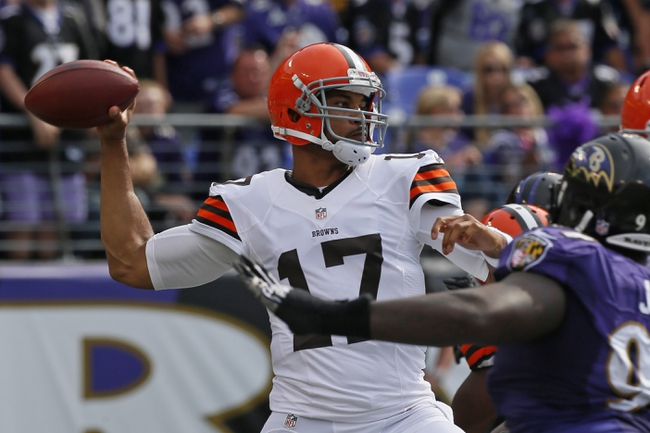 Sep 15, 2013; Baltimore, MD, USA; Cleveland Browns quarterback Jason Campbell (17) is pressured by the Baltimore Ravens defense at M&T Bank Stadium. Mandatory Credit: Mitch Stringer-USA TODAY Sports
