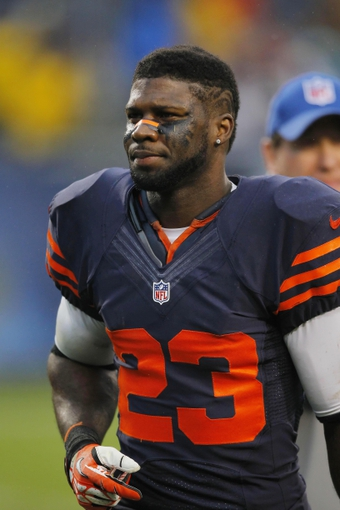 Sep 15, 2013; Chicago, IL, USA; Chicago Bears wide receiver Devin Hester (23) after the game against the Minnesota Vikings  at Soldier Field. Chicago won 31-30. Mandatory Credit: Dennis Wierzbicki-USA TODAY Sports