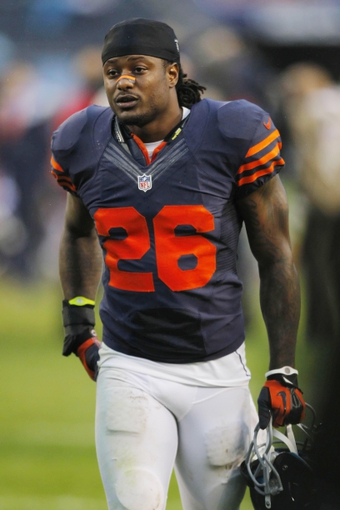 Sep 15, 2013; Chicago, IL, USA; Chicago Bears cornerback Tim Jennings (26) after the game against the Minnesota Vikings  at Soldier Field. Chicago won 31-30. Mandatory Credit: Dennis Wierzbicki-USA TODAY Sports