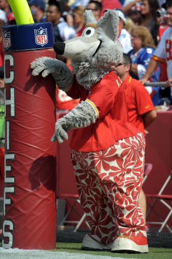 Sep 15, 2013; Kansas City, MO, USA; Kansas City Chiefs mascot KC Wolf performs during the second half of the game against the Dallas Cowboys at Arrowhead Stadium. The Chiefs won 17-16. Mandatory Credit: Denny Medley-USA TODAY Sports