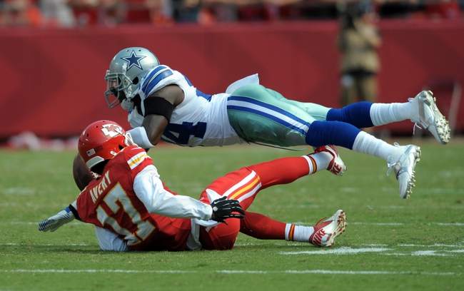 Sep 15, 2013; Kansas City, MO, USA; Dallas Cowboys cornerback Morris Claiborne (24) breaks up a pass intended for Kansas City Chiefs wide receiver Donnie Avery (17) during the second half at Arrowhead Stadium. The Chiefs won 17-16. Mandatory Credit: Denny Medley-USA TODAY Sports