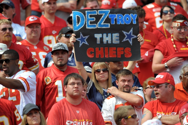 Sep 15, 2013; Kansas City, MO, USA; Dallas Cowboys show their support during the second half of the game against the Kansas City Chiefs at Arrowhead Stadium. The Chiefs won 17-16. Mandatory Credit: Denny Medley-USA TODAY Sports