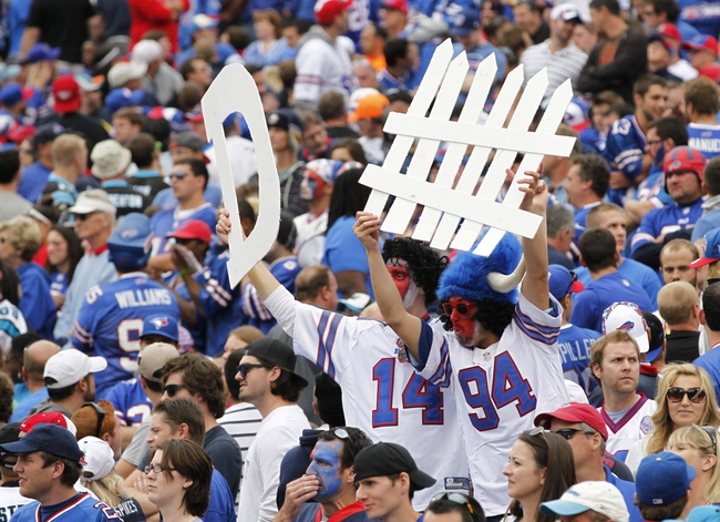 Sep 15, 2013; Orchard Park, NY, USA; Buffalo Bills fans call for defense during the second half against the Carolina Panthers at Ralph Wilson Stadium. Buffalo beat Carolina 27-26. Mandatory Credit: Kevin Hoffman-USA TODAY Sports