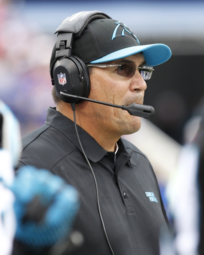 Sep 15, 2013; Orchard Park, NY, USA; Carolina Panthers head coach Ron Rivera on the sideline during the second half against the Buffalo Bills at Ralph Wilson Stadium. Buffalo beat Carolina 27-26. Mandatory Credit: Kevin Hoffman-USA TODAY Sports